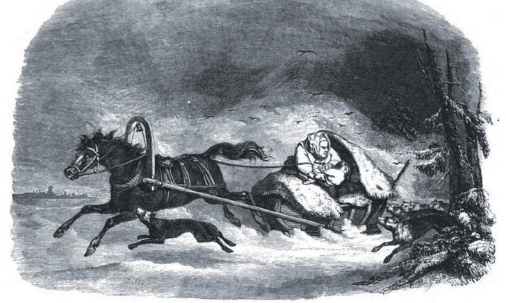 Русская женщина кидает ребенка волкам. Французский художник Шарль-Мишель Жоффруа, 1845