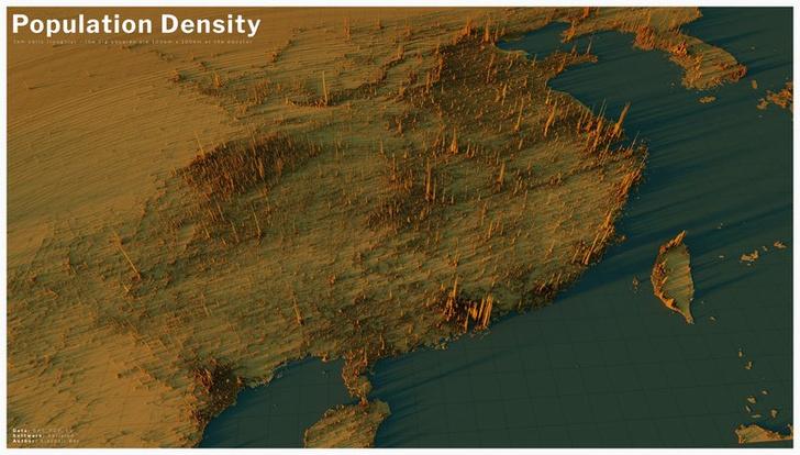 Фото №12 - Красивые трехмерные карты мира, показывающие распределение населения Земли