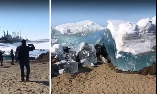Фото №1 - Величественный и грозный ледоход на реке Томь (видео)
