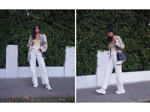 Фото №2 - Жизель Оливейра показывает, с чем носить белые джинсы этой осенью