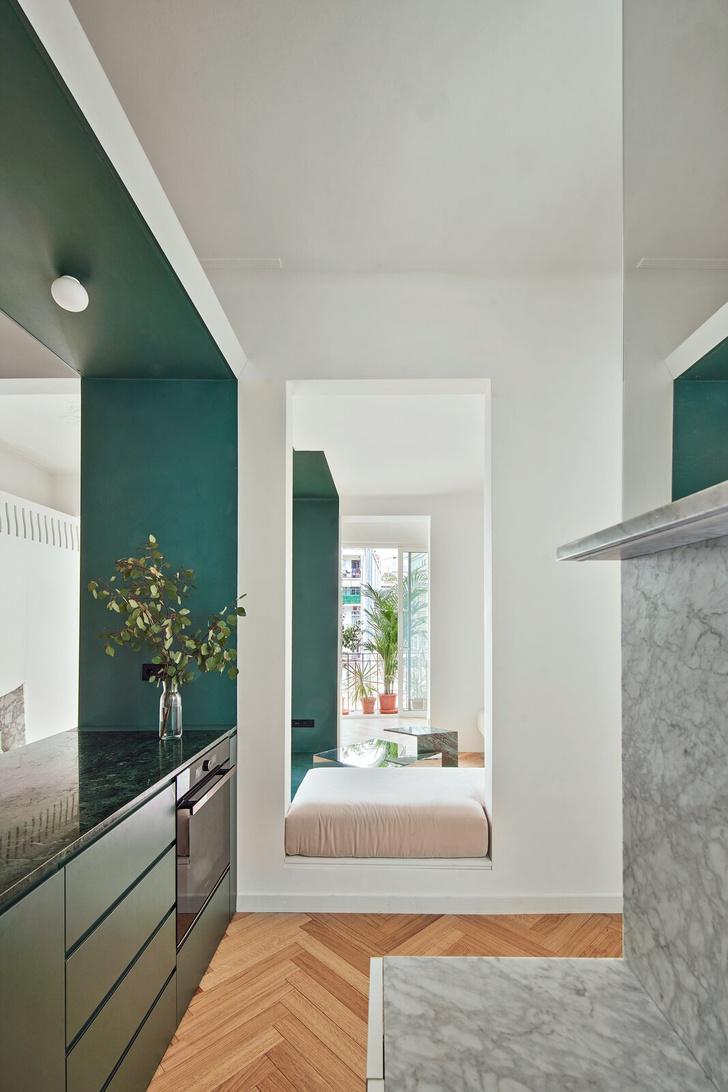 Фото №5 - Квартира с зеленой перегородкой в Барселоне