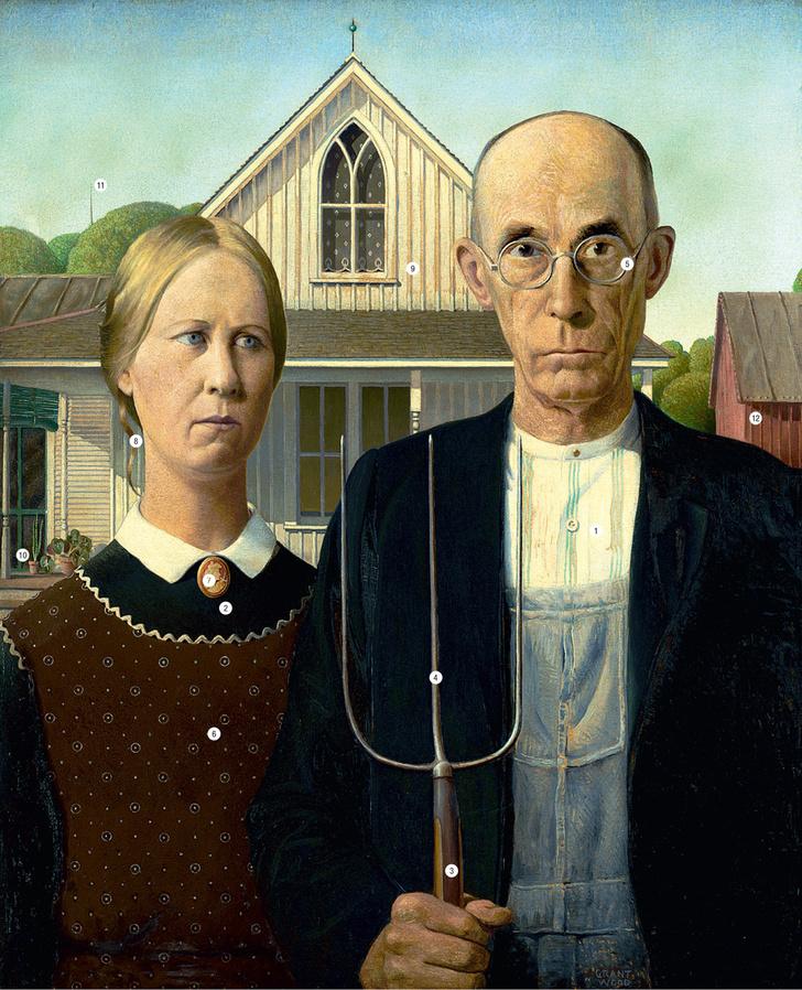 Фото №1 - Сага о семейном скелете в шкафу: 13 символов, зашифрованных в картине «Американская готика»