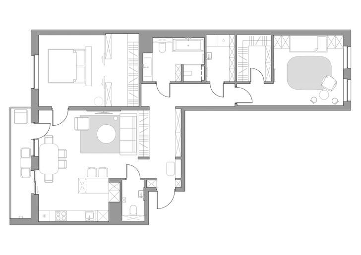 Фото №20 - Современная квартира в темных тонах 103 м²