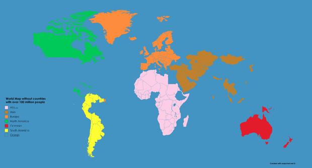 Фото №2 - Как выглядит карта мира без стран с населением больше 100 миллионов человек