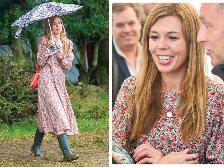 Фото №1 - Как носить романтичное платье с резиновыми сапогами: рецепт Кэрри Симондс