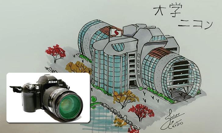 Фото №1 - Архитектор рисует дома, похожие на бытовые вещи. А ты угадаешь предмет по эскизу?