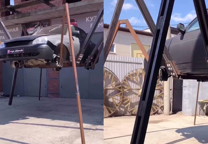 Фото №1 - Житель Краснодара переделал свою «Приору» в машину-паука (видео)