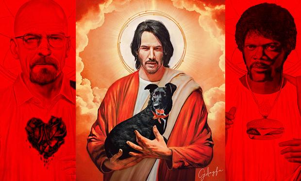 Фото №1 - Художник превращает героев кино в святые иконы