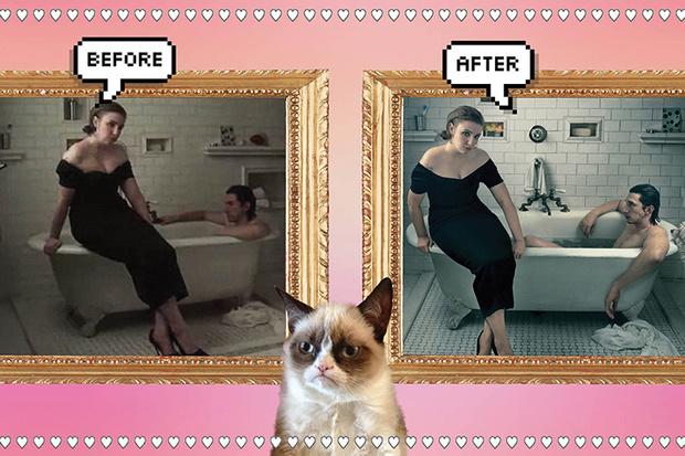 Лена Данэм в фотосессии Vogue фотошоп