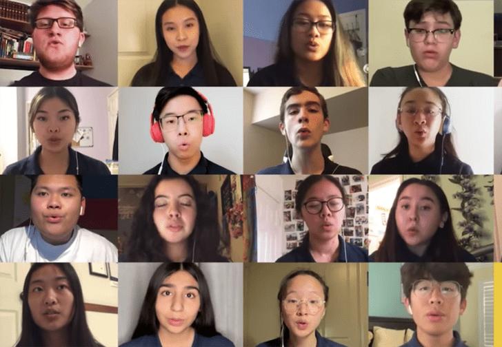 Фото №1 - Школьный хор устроил репетицию по видеосвязи, и получилось даже лучше, чем вживую (видео)
