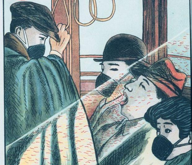 Фото №1 - Иллюстрации столетней давности, показывающие, как японцы защищались от «сумо-гриппа»
