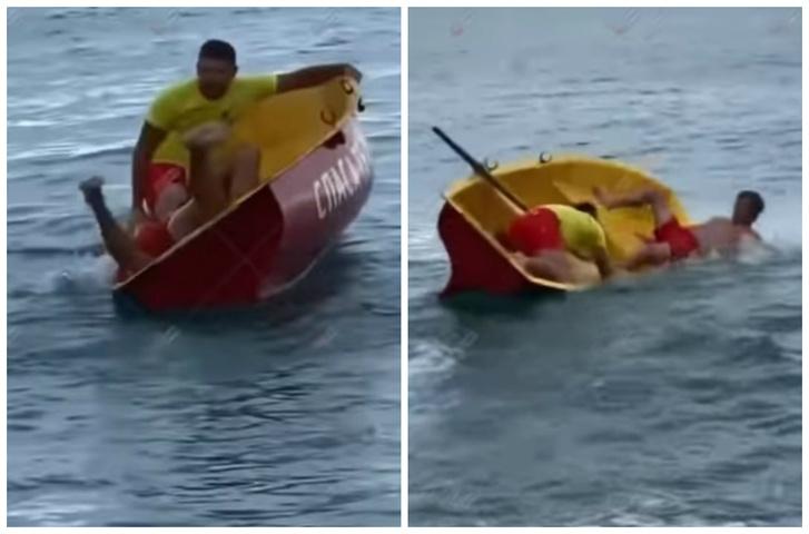 Фото №1 - Неуклюжие пляжные спасатели в Сочи, укрощающие лодку, насмешили очевидцев (видео)