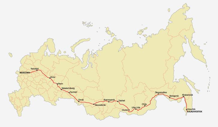 shutterstockСделать это удалось благодаря постройке Великого Сибирского Пути, или Транссибирской магистрали, — самой длинной железной дороги на планете. Ее фактическая протяженность составляет 9 288,2 км, из них 1 777 км проходит по Европейскому континенту и 7 512 км — по Азиатскому. Магистраль «захватывает» 10 часовых поясов, вдоль линии ее протяженности находится 87 городов и 16 крупных рек. Начальной станцией Транссиба является Ярославский вокзал Москвы, самая западная станция дороги, а конечным пунктом — городской вокзал Владивостока (самая южная станция). Строительство Магистрали было начато в 1891 году, а закончено в 1916-м. В первых железнодорожных составах, следующих по одной колее, были оборудованы специальные вагоны для женщин, для курящих пассажиров и для священников. Вторая колея была построена к 1938 году.