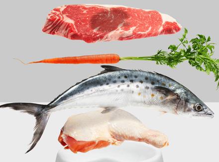 Натюрморт: мясо, рыба, морковь