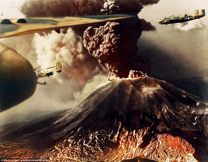 Фото №1 - История одной фотографии: бомбардировщики над извергающимся Везувием, 1944 год