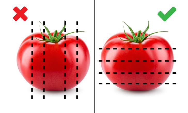 Фото №2 - Как правильно резать помидоры с точки зрения физики