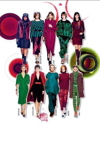 БОРДО И ЗЕЛЕНЫЙ Глубокий цвет бургундского и разные оттенки зеленого – это очень модно, очень по-осеннему и прекрасно сочетается между собой