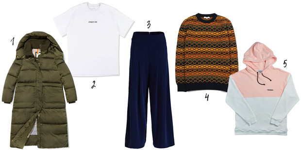 1. Tom Tailor, 2, 4. Street pie store, 3. Guess, 5. Faces&Laces Locals