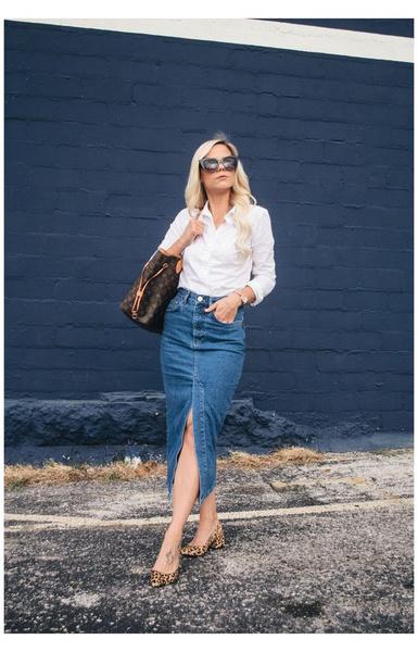 Фото №7 - С чем носить джинсовую юбку миди: 10 модных идей