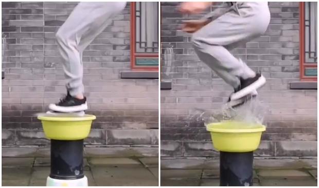 Фото №1 - Трюк: мастер боевых искусств отталкивается от воды в прыжке (видео)