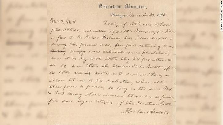 Фото №1 - Рождественское письмо Линкольна продано на аукционе