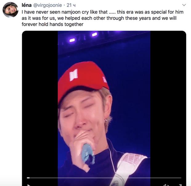 Фото №1 - Душераздирающе: Намджун заплакал на финальном концерте тура Love Yourself