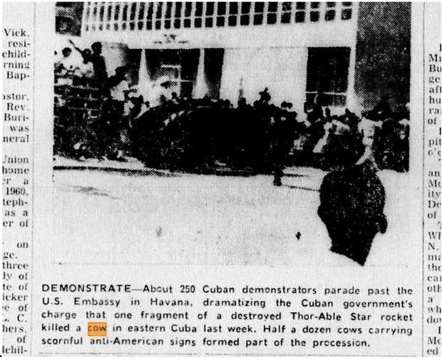 Фото №2 - Как американцы обломком космической ракеты убили кубинскую корову
