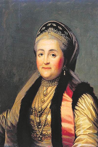 Виргилиус Эриксен. Портрет Екатерины II в шугае и кокошнике. 1772 г.