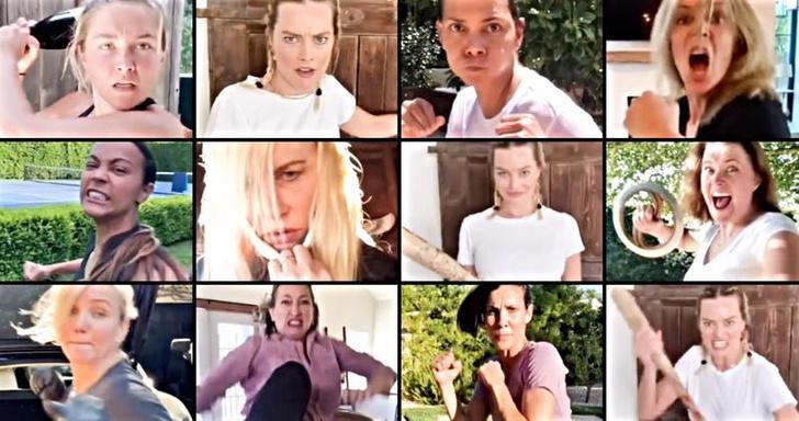 Фото №1 - Марго Робби, Скарлетт Йоханссон, Хэлли Берри и другие звезды дерутся в новом карантинном флешмобе (видео)