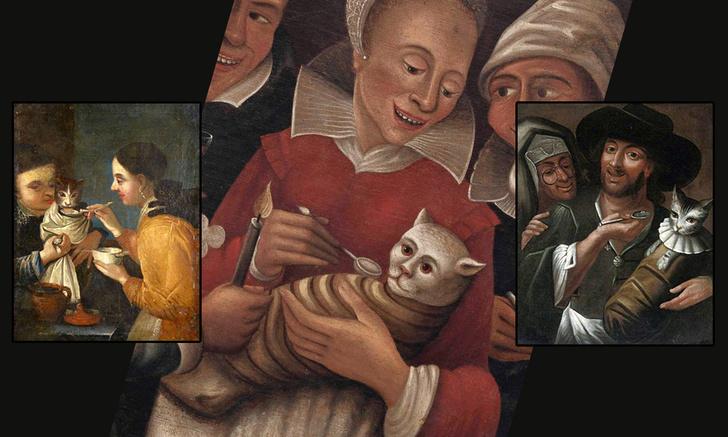 Фото №1 - Занятные древние картины, где котов кормят с ложки
