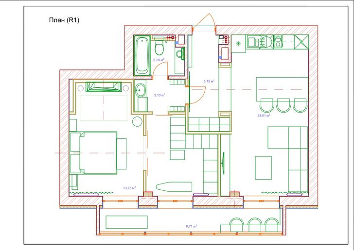 Фото №12 - Квартира в зеленых тонах для жизни за городом