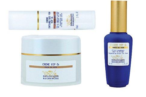 Кислородный крем Creme VIP O2, кислородный фитобиокомплекс Fluide VIP O2, крем для области вокруг глаз VIP O2, все – Biologique Recherche.
