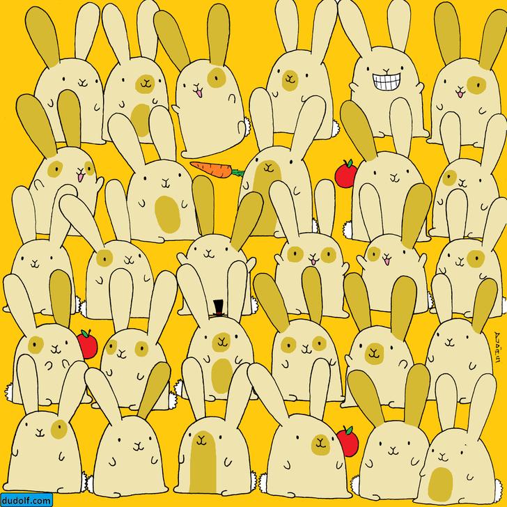 Фото №1 - Свежая предновогодняя головоломка: отыщи зайку без пары на рисунке
