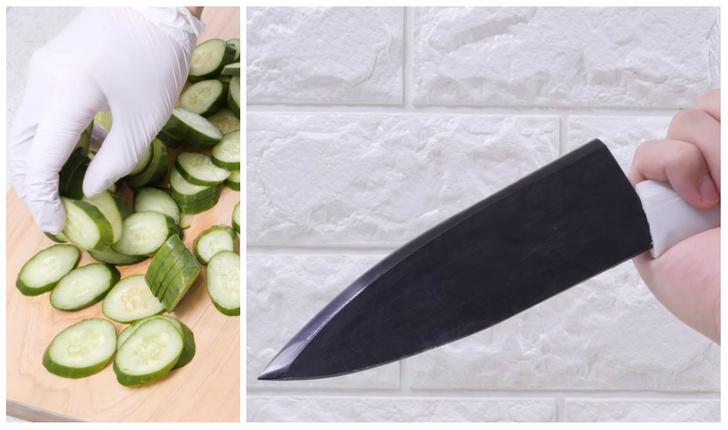 Фото №1 - Как сделать острейший нож из огурца в домашних условиях (притягивающее видео)