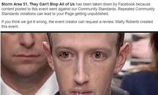 Facebook удалил событие о штурме Зоны-51