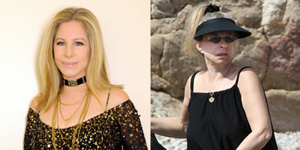"Барбара Стрейзанд на церемонии ""Оскар"" и на пляже."