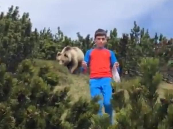 Фото №1 - Спасение мальчика от преследовавшего его медведя попало на видео
