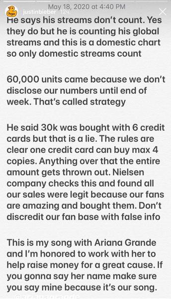 Фото №1 - Рэпер 6ix9ine обвинил Гранде и Бибера в покупке первого места в рейтинге Billboard