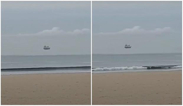 Фото №1 - Оптическая иллюзия с танкером, парящим в воздухе (видео)