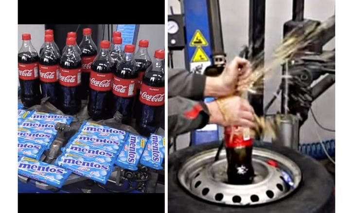 Фото №1 - Эксперимент от сибирских мужиков: накачать колесо с помощью колы и ментоса (видео)