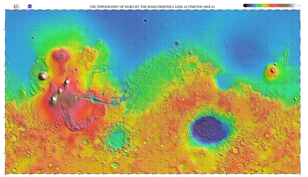 Фото №1 - Как выглядела бы карта Марса, если бы он был покрыт водой, как Земля