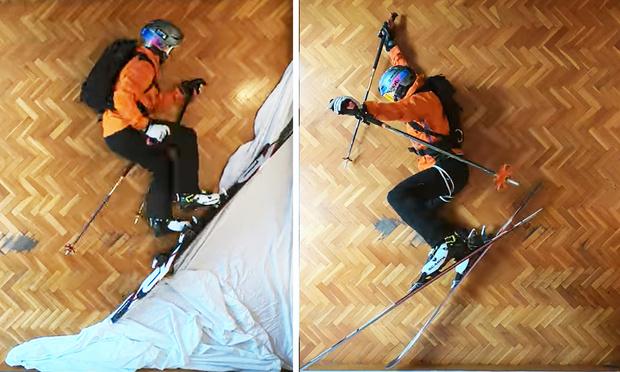 Фото №1 - Парень снял душевную короткометражку, как кататься на лыжах в горах, не выходя из комнаты