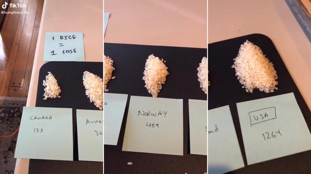 Фото №1 - Блогер показал на рисе, сколько человек заразились коронавирусом в разных странах