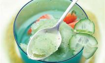Огуречный щербет с фруктовым салатом