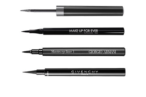 Artliner 24H, Lancome; Graphic Liner, Make Up For Ever; Maestro, Giorgio Armani; Liner Couture, Givenchy.
