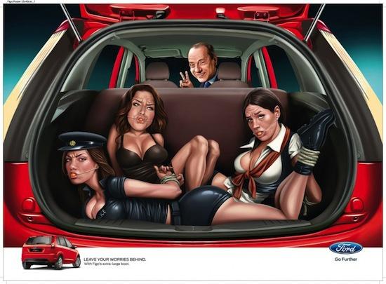 Скандальный постер: Сильвио Берлускони везет заложниц в багажнике