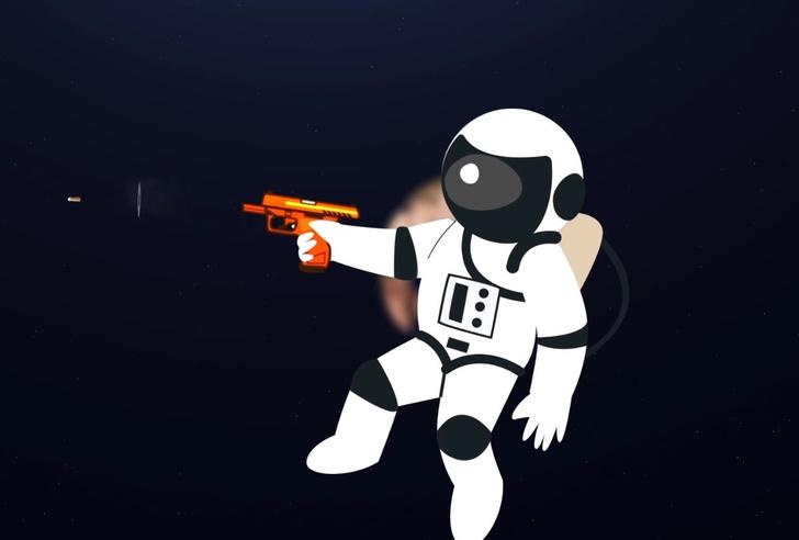 Фото №1 - Что будет, если выстрелить в космосе (видео)
