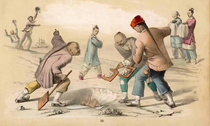 Миссионер пытается остановить инфантицид вКитае. Иллюстрация 1850 года