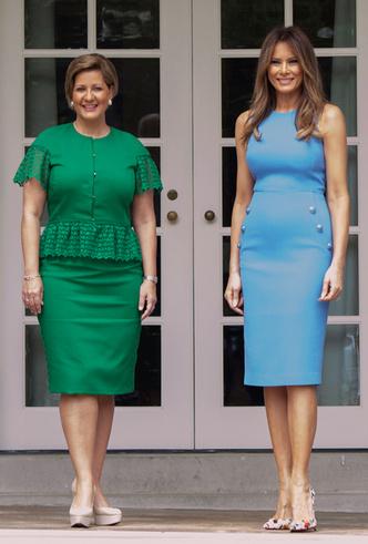 Фото №4 - Королева Летиция пришла на встречу с Меланией Трамп в платье Мелании Трамп