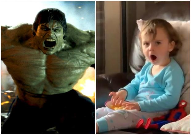 Фото №1 - Реакция двухлетнего ребенка, который впервые в жизни видит Халка (видео)